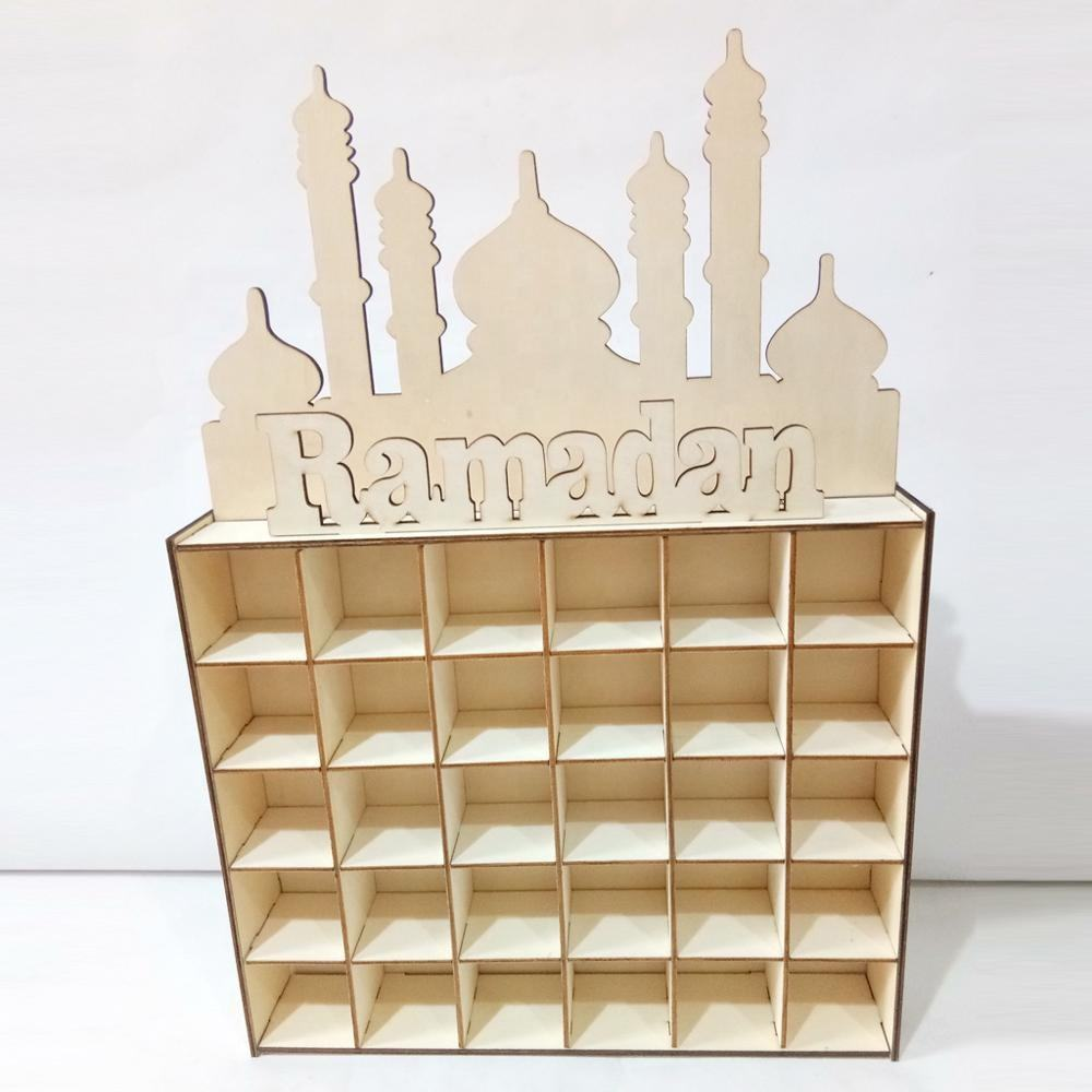 Custom DIY Wooden Ramadan Calendar Craft for Muslim Home Decoration Ramadan Gift Box Supplies Ramadan EID Decorations