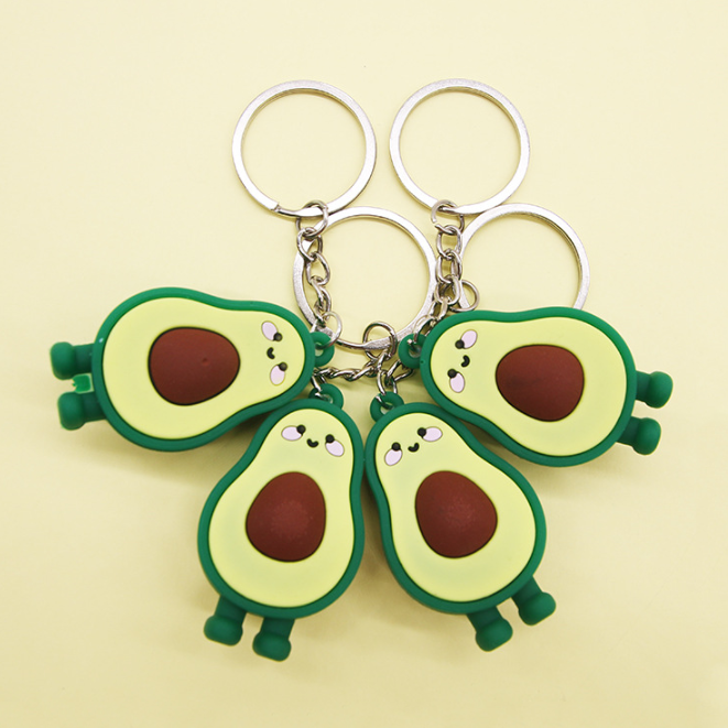 Aguacate PVC Keychain Avocado Keyring Shea Butter Fruit Key Ring Key Bag Car Pendants Promotional Gifts