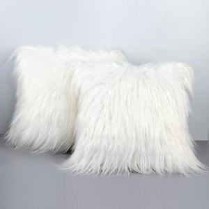 OurWarm New Luxury Series Merino Style 18 x 18 inch White Fur Throw Pillow Case Cushion Cover