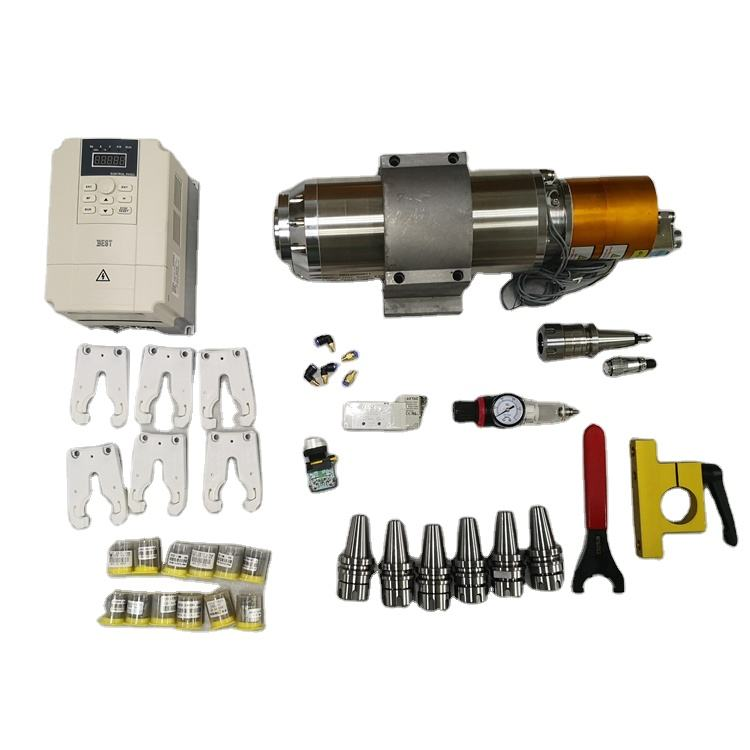 ATC Tool Change Spindle Motor BT30 5.5kw Pneumatic Spindle with accessories for metal mold engraving and milling