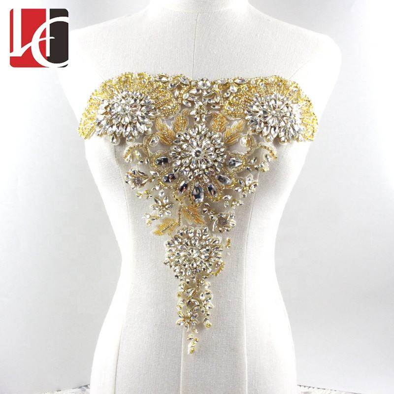 HC-6868 Hechun luxury large bodice golden rhinestone crystal applique bridal