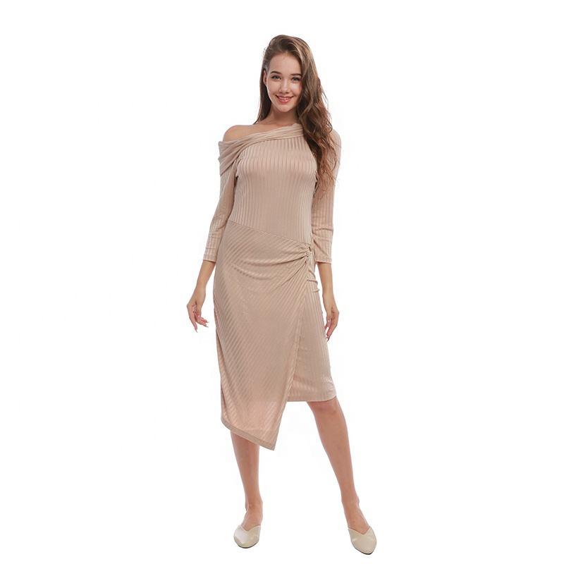 2021 Autumn Polyester/Spandex Knee-Length Long Sleeve Knit Solid Pencil Girls' Ladies' Apparel Elegant Women's Casual Dresses