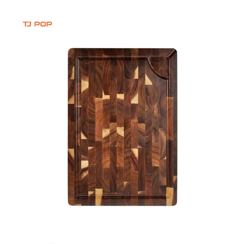 Custom Design Organic Butcher Square Kitchen non-slip Natural Cooking Boards Acacia Wood End Grain Chopping Wooden Cutting Board