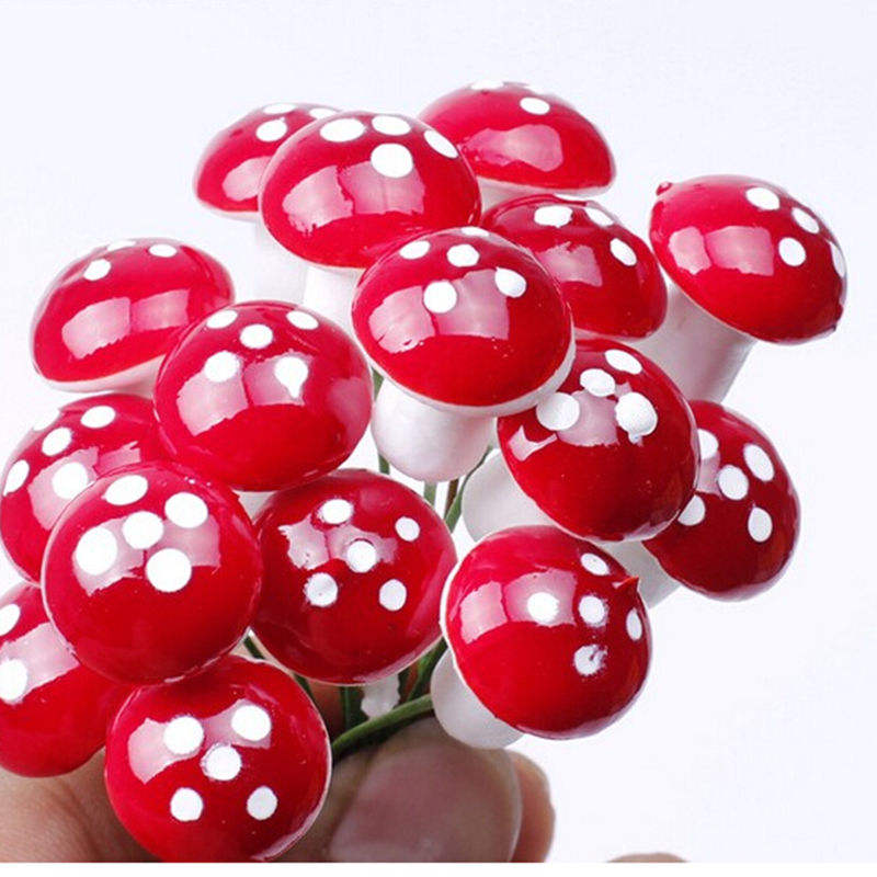 25mm 30mm Artificial Mini Red Dot Mushroom Miniatures Fairy Garden Moss Terrarium Resin Crafts Decorations Stakes Craft