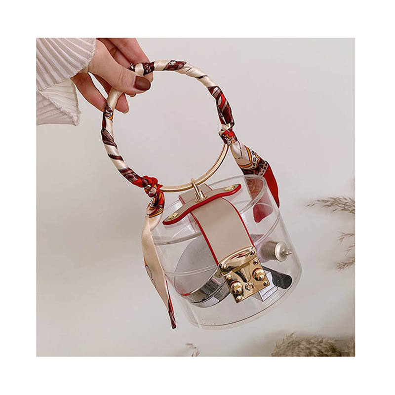 Barrel-shaped Jelly Evening Handbags PVC Fashion Women Round Metal Handle Transparent Shoulder Bag Mini Clear Small Clutch Bag