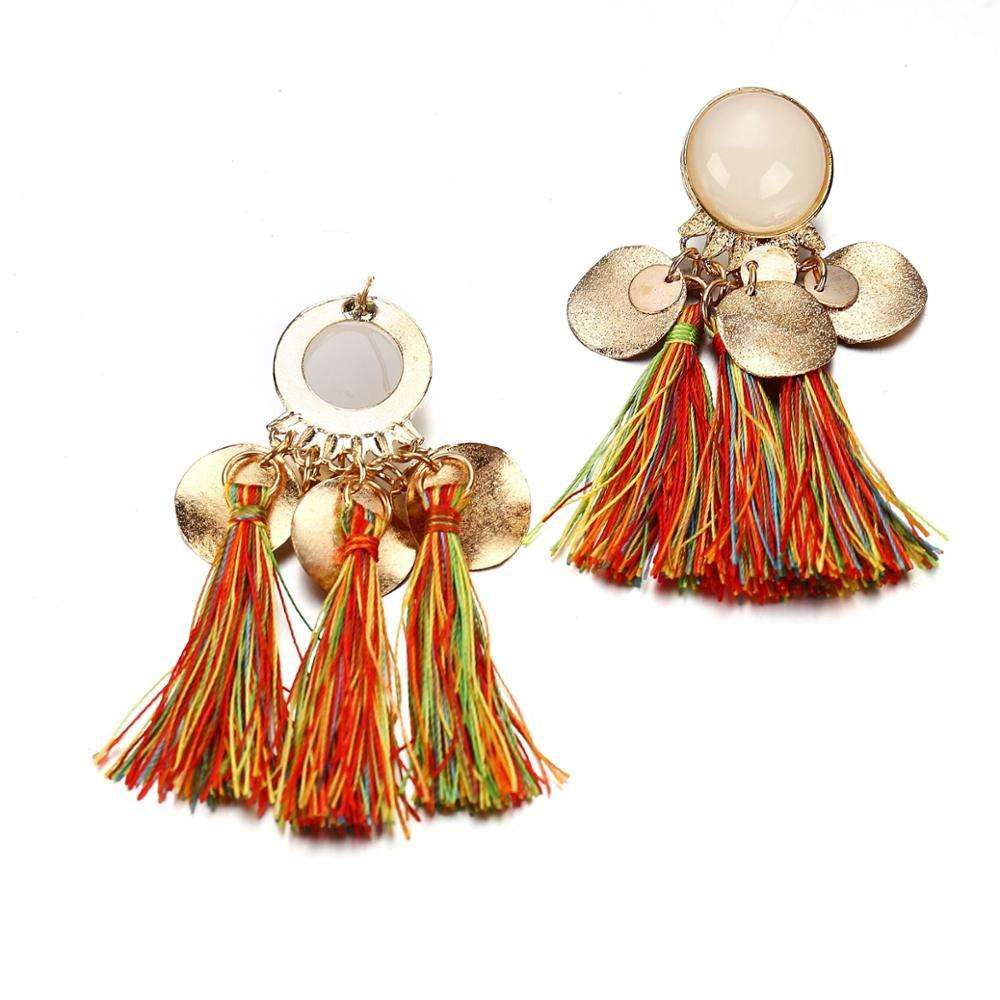 Super September discount exaggerated alloy resin tassel earrings