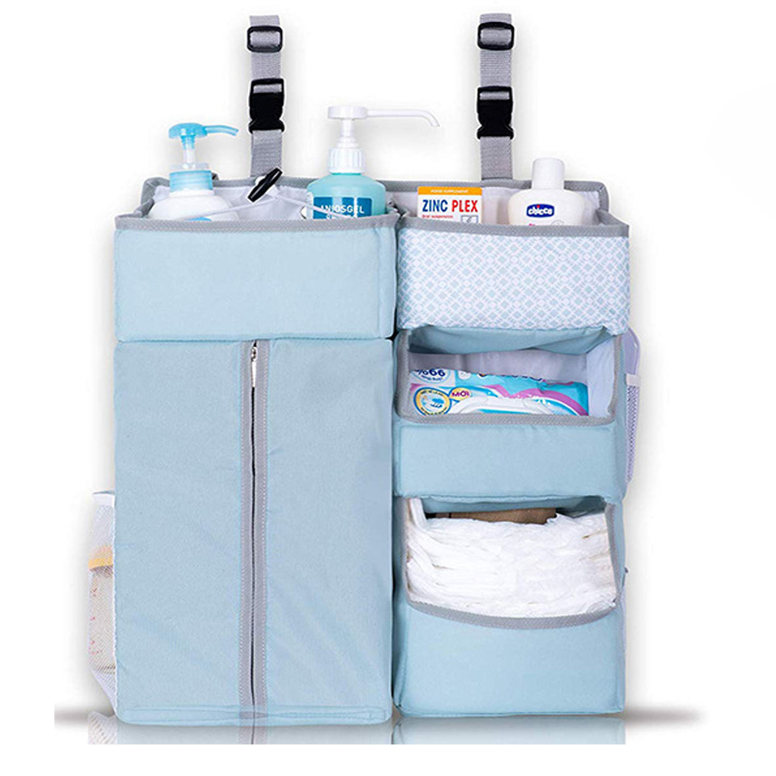 Hanging Diaper Caddy Organizer Diaper Organizer for Changing Table Crib Hanging Organizer Large Capacity Nursery Organization