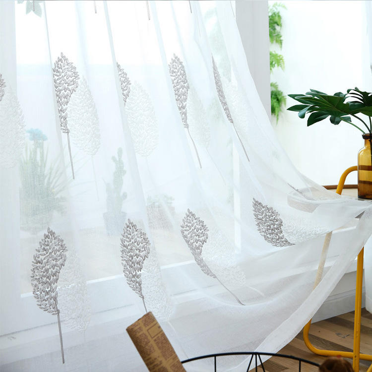 Beautifully modern embroidery sheer window covering curtains for the living room