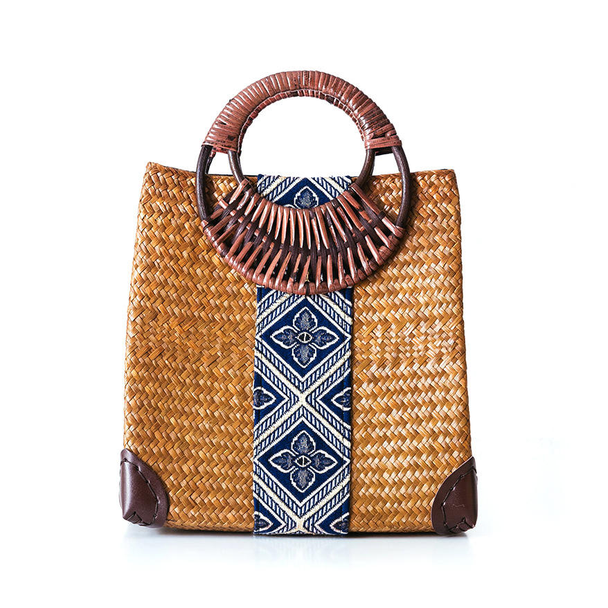 New design factory price handmade weave Rattan Straw Basket Beach Bag Bamboo tote bag for Women