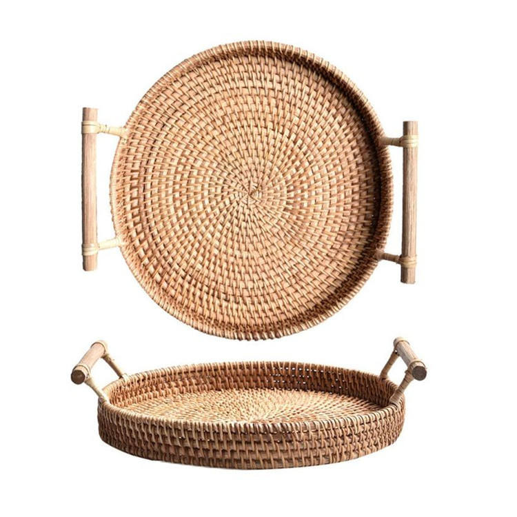 Bandejas decorativas artesanais rattan mesa de chá pequena de madeira do agregado familiar