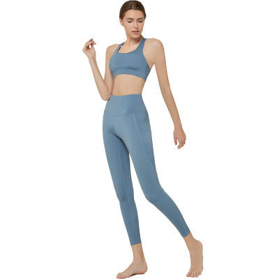 Custom high waist nylon nd spande yoga wear with pocket fitness sports bra leggings set