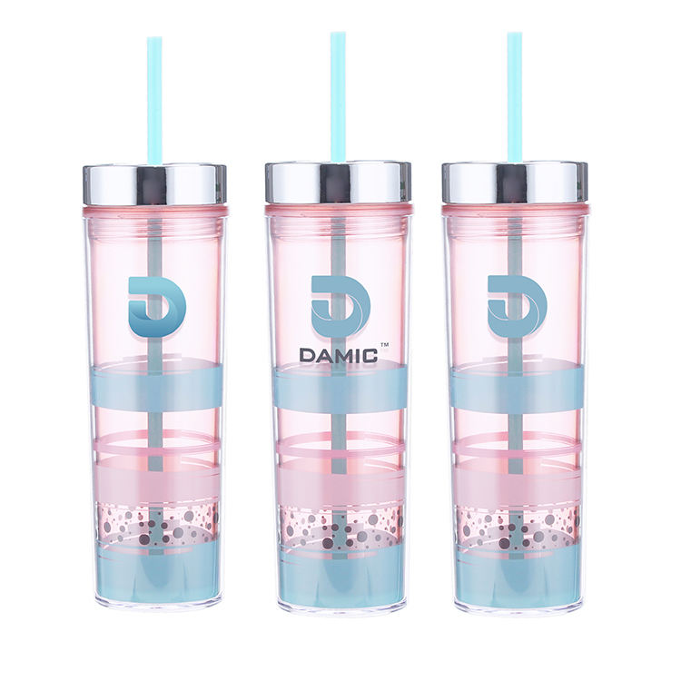 16OZ double wall plastic tumbler with big printing area BPA free skinny bling mug personalized