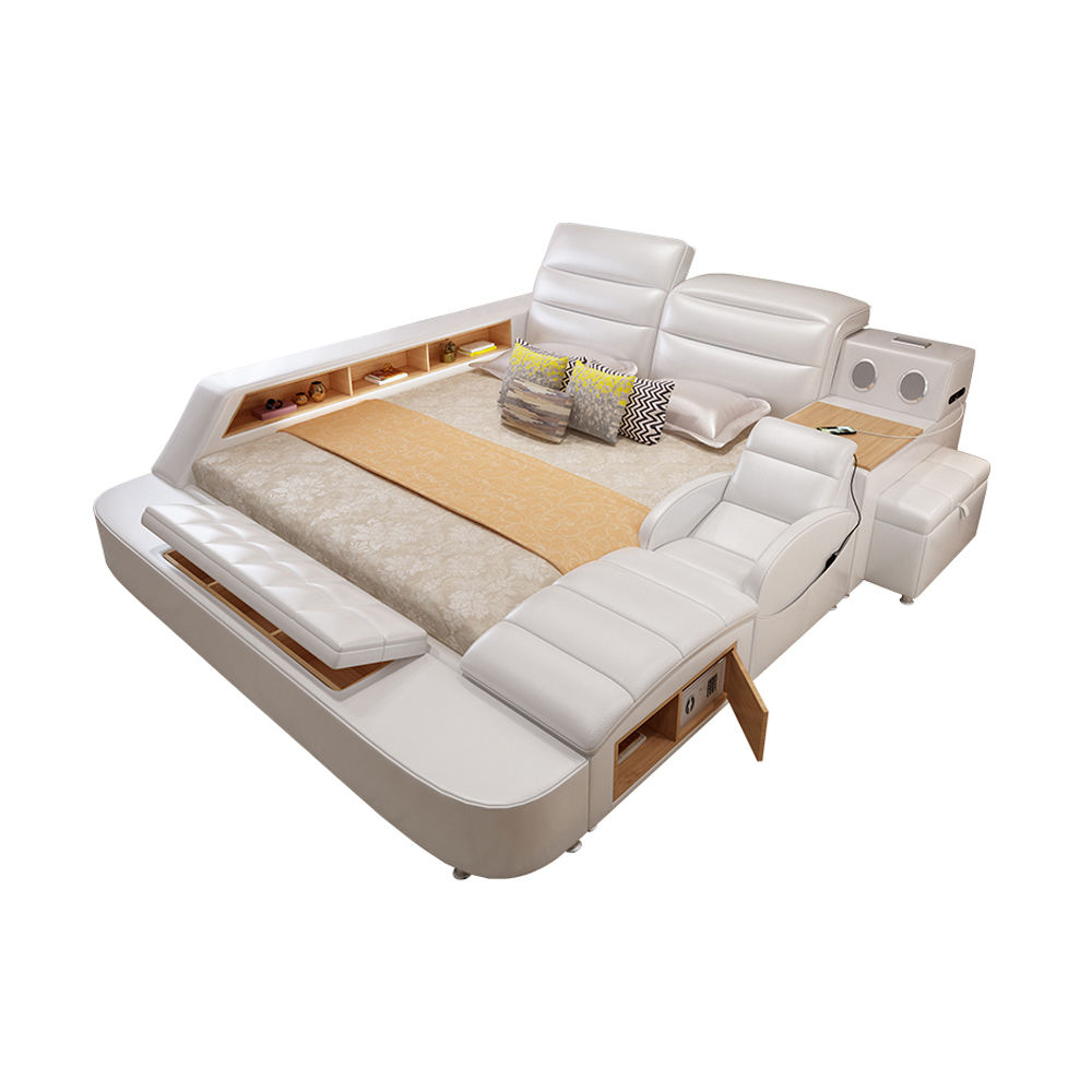 Modern Bedroom Storage Leather Bed Multifunction Message Tatami Bed Smart Bed With Bluetooth Speaker
