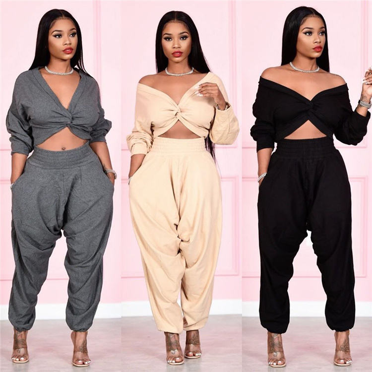 Spring Women Clothing 2021 Two Pieces Sweat Pants Set Tracksuits Sets Sweat Plus size women clothing Stack Pants Sets S390047