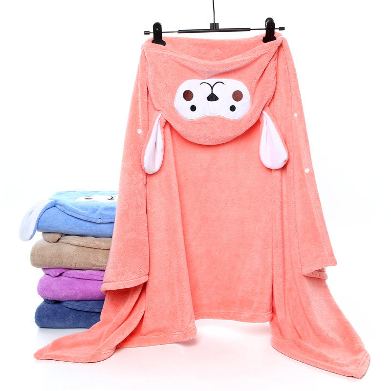 Customized Printed Microfiber Wearable Baby Kids Poncho Hooded Towel for Bath