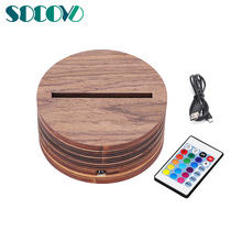 Manufacturer Wholesale Wood 3D lamp base 24 Color Changing Remote Control Fancy Wooden LED Lamp Base for Acrylic