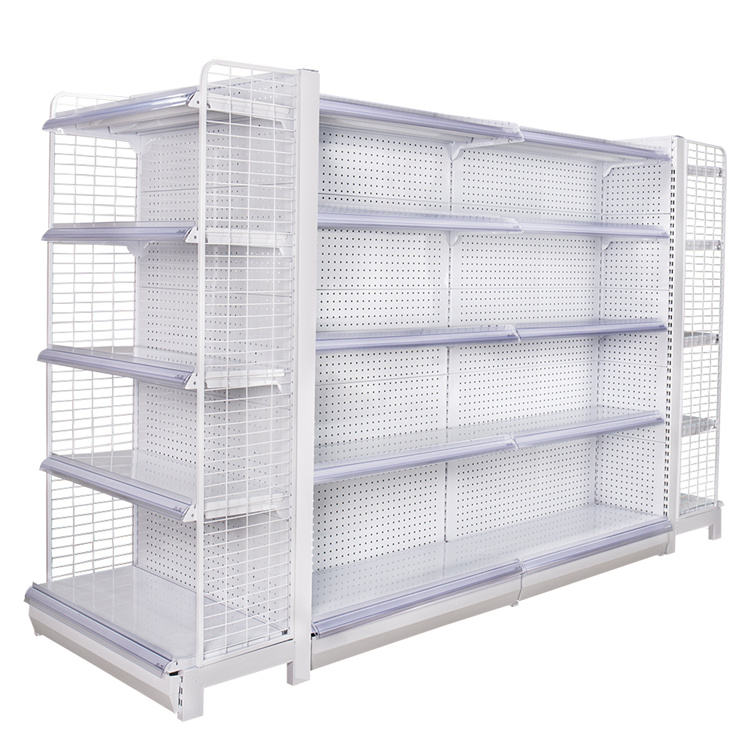 Various good quality steel modern white retailing shop product display supermarket racking with logo