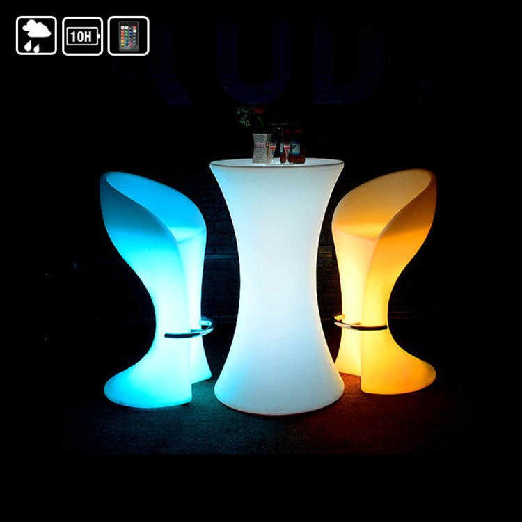 Led light up outdoor furniture plastic high luminous glow light illuminated nightclub bar cocktail tables and chairs