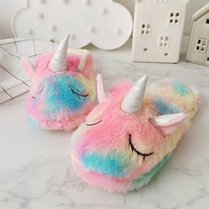 Christmas winter colorful unicorn house shoes plush fluffy indoor animal soft fur slippers for women