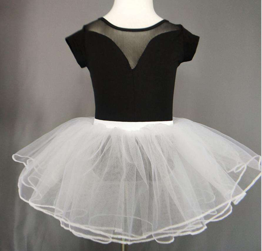 Black White Pink Kids Girls Cute Tutu Dress Ballet Leotard for Dance Gymnastics Training Clothes Short Sleeve