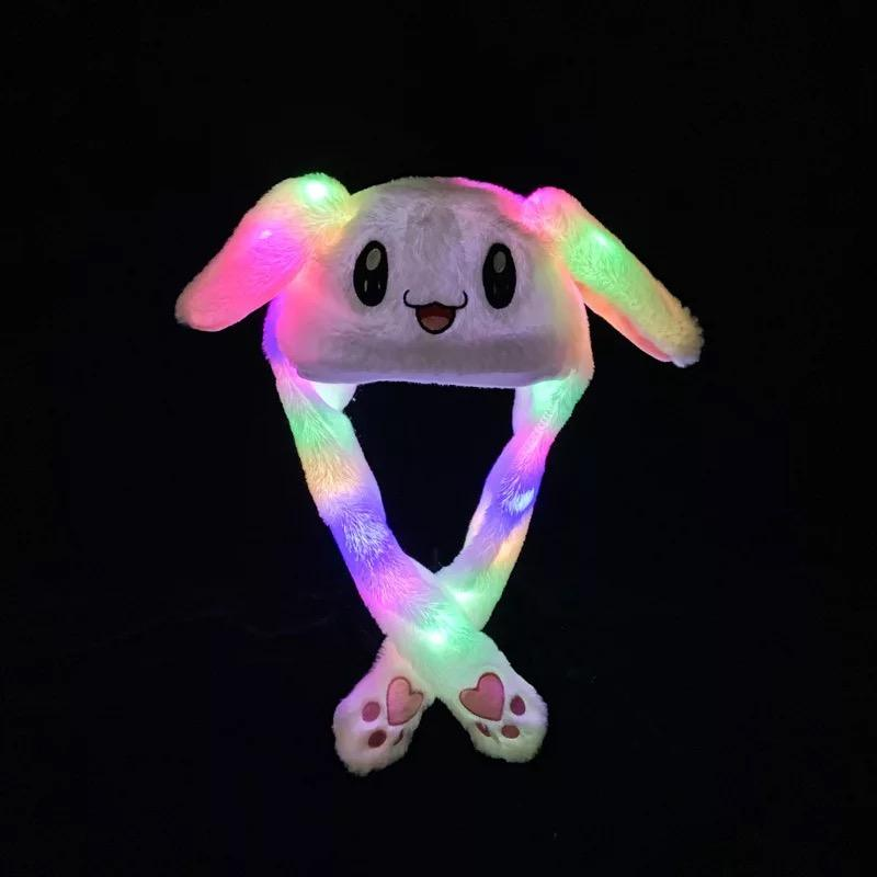 Bunny Hat with Air Pumping Moving Ears Plush Lovely Soft Cute Rabbit Animated Cap Funny Animal Hats LED Light