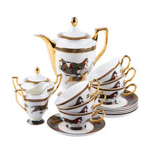 High quality royal luxury coffee cup sets gold rim hotel reception 15s coffee cup and saucer