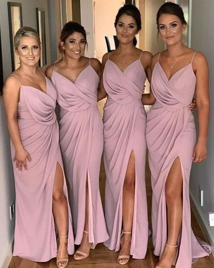 #7645 Spaghetti Strap V-neck Backless Sleeveless Modern Split Bridesmaid Gown Dress Adult Bridesmaid Dress