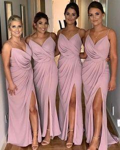 #7645 Spaghetti Strap V-neck Backless Sleeveless Modern Split Bridesmaid Gown Dress Adult Bridesmaid Dress
