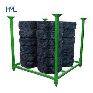 Warehouse durable portable storage stand foldable stacking truck tire rack