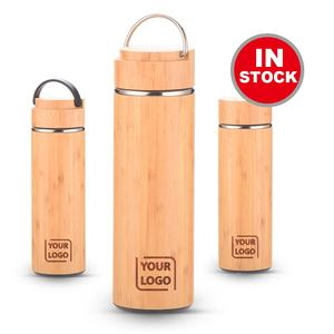 Portable Tea Cup New Design 360ml Bamboo Tea Water Bottle Stainless Steel Tea Infuser Water Bottle with Strainer Infuser