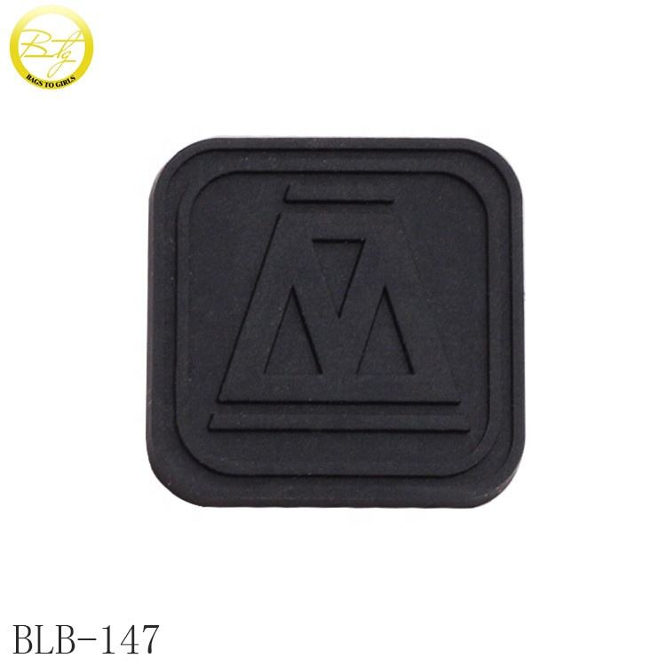 Custom embossed logo silicone rubber patch small black shoes soft rubber badge for garment