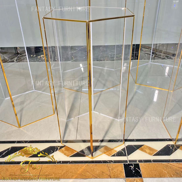 Acrylic Wedding Column Decor Gold Round Wedding Pillars