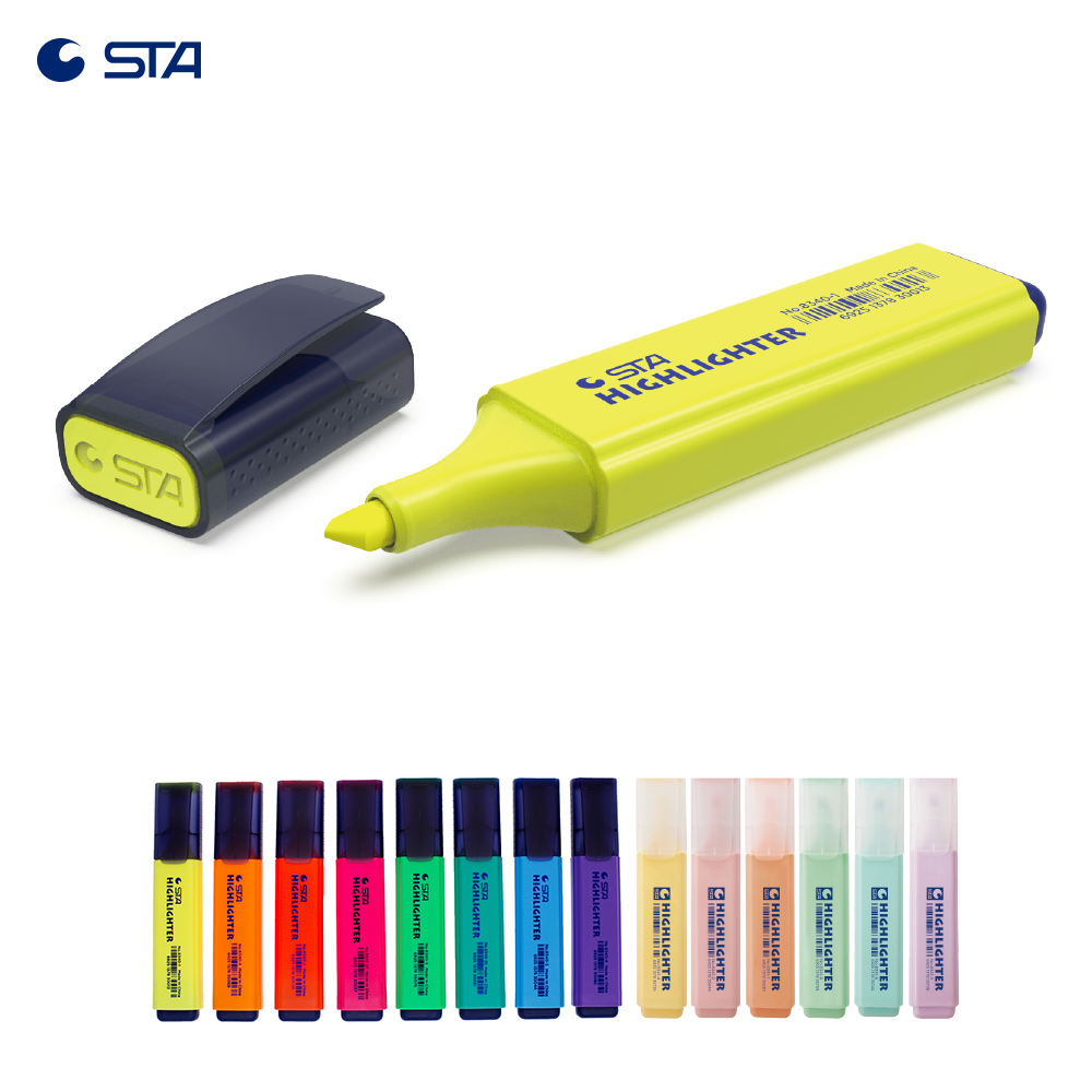 STA 8340 manufacture gel multi colored color loose highlighter set customized dual highlight marker pen with Highlighter