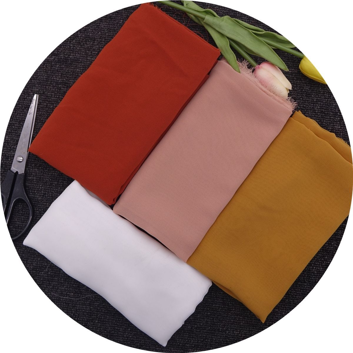 Polyester ITY pure chiffon fabric raw white composite filament colored woven chiffon voile crepe textiles fabric chiffon scarves