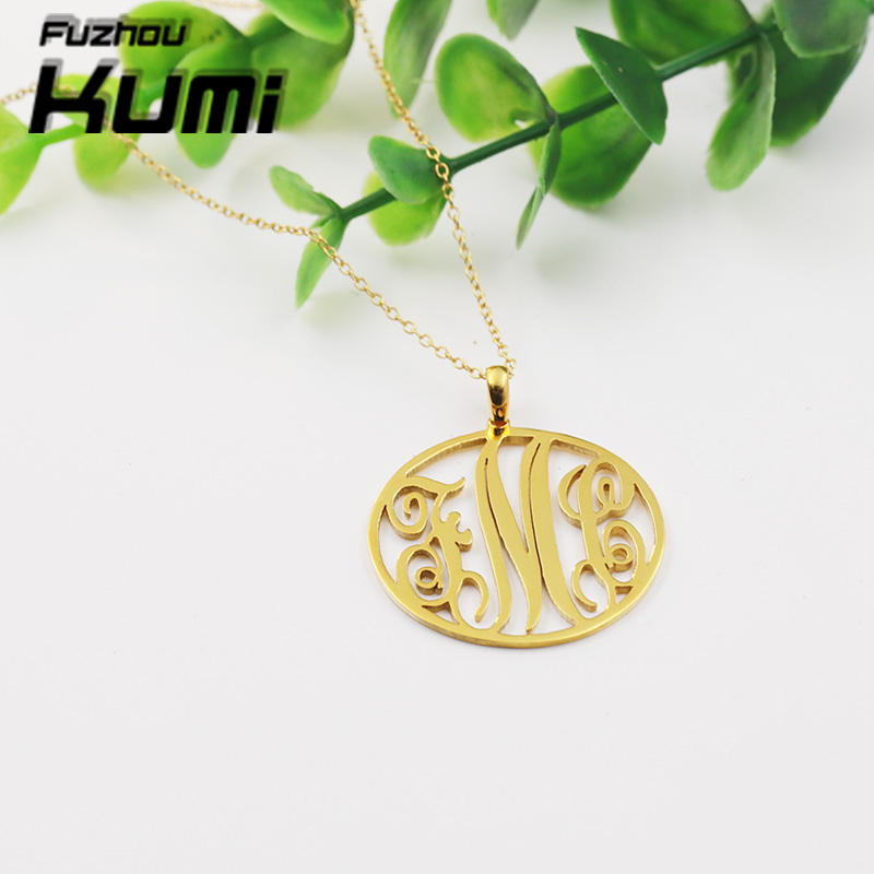 "2"" inch Circle Monogram Necklace Large Name Letter Pendant Gold Chain Necklace Personalized"