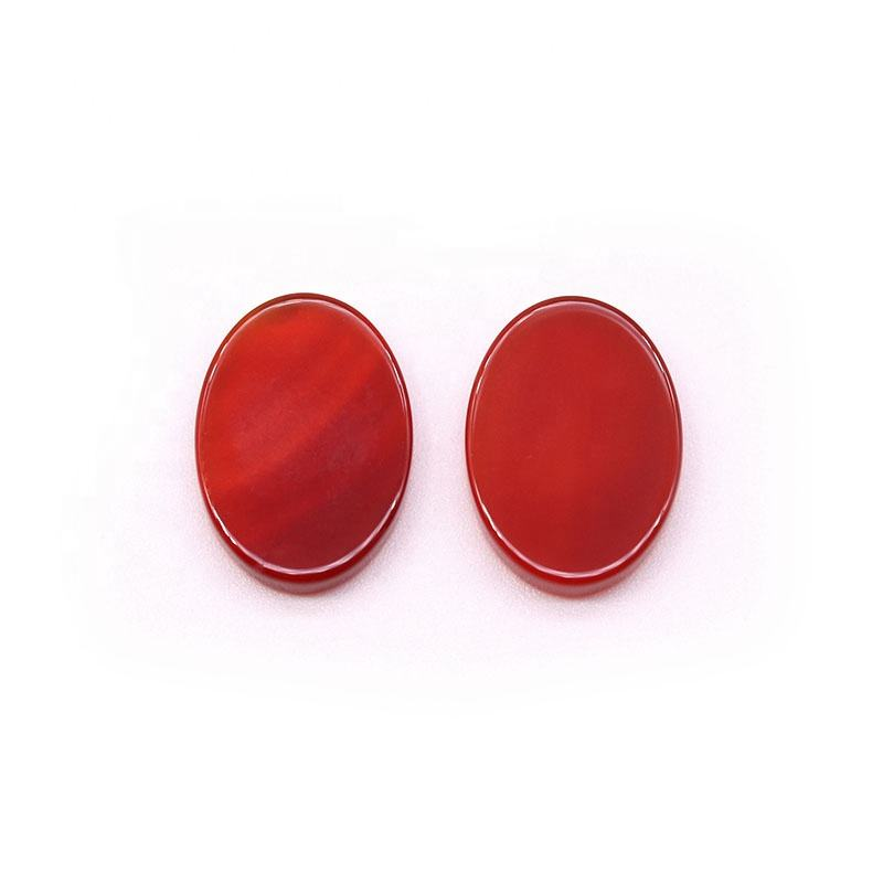 Polished pear shape double flat red loose cubic zirconia agate stones