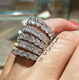 women cubic zirconia bling bling sparkle diamond silver jewelry ring