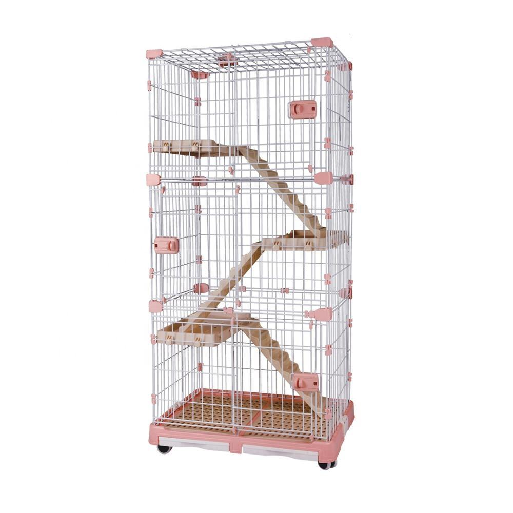 #8023 Large 3-Tier wire Cat Cage with platform and ladders Spacious Foldable Playpen Box Crate Kennel 83*53*160 CM animal cage