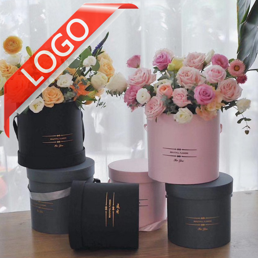 Waterproof Paper Flower Box With Lid Fresh Rose Party Flowers Round Cardboard Packaging Material Paper Box
