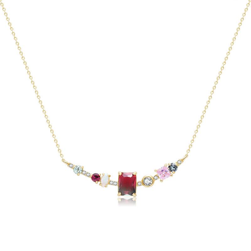 Elegant watermelon tourmaline minimalist necklace brilliant colorful cz curved bar necklace with opal dainty women jewelry
