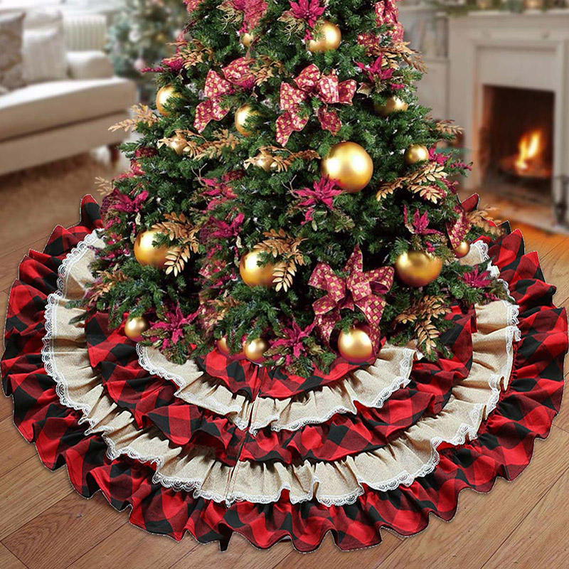 Vlovelife 48インチRed Black Plaid Christmas Tree Skirt Ruffled Buffalo Tree SkirtためChrisma Tree Decor
