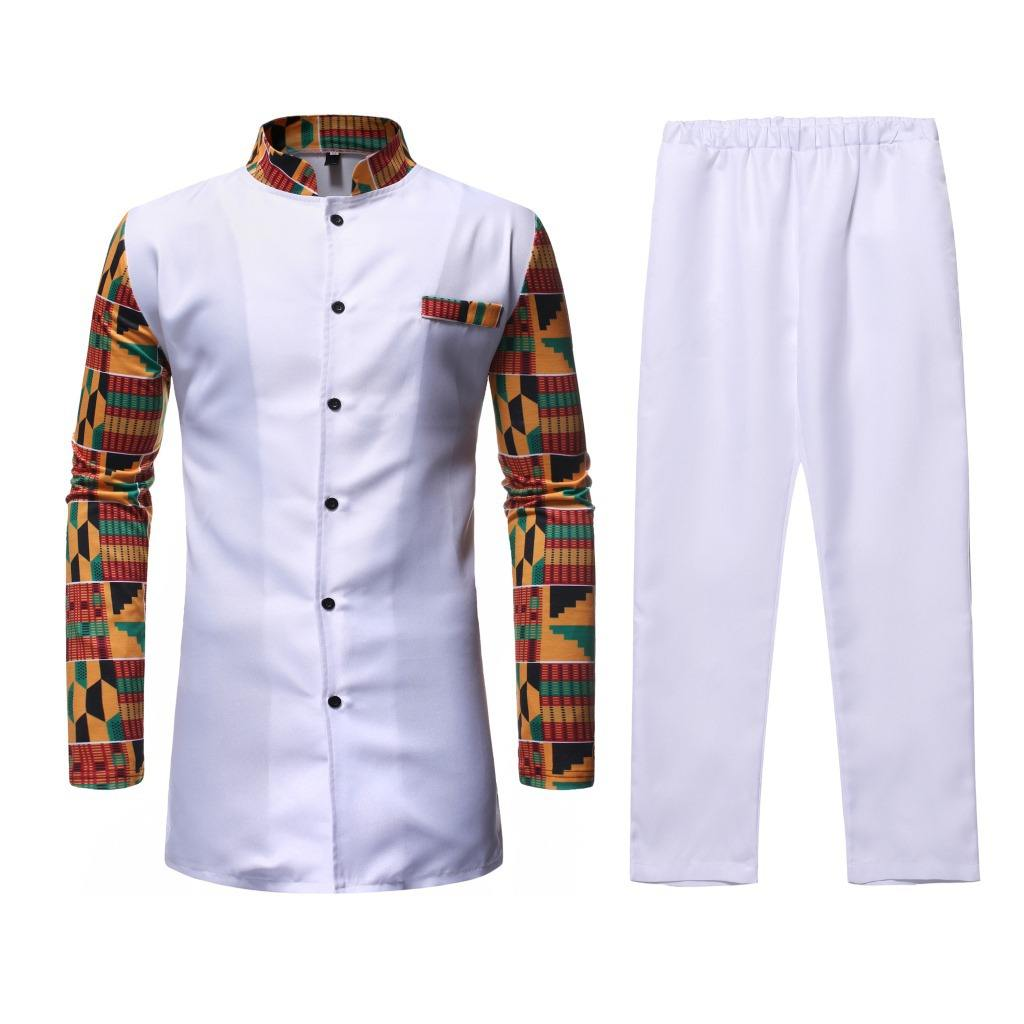Autumn and winter new stand-up collar color matching mid-length men's Turkish chief two-piece African style suit