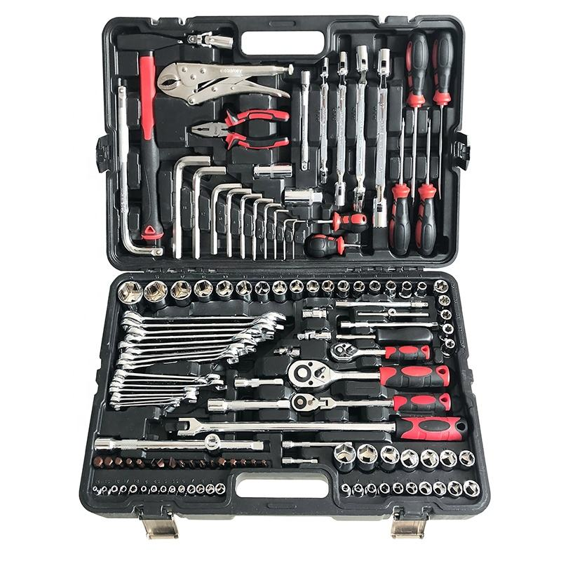 GoodKing 129 piece 1/2,3/8,1/4 Inch Drive Mechanic's Tool Kit With Quick Release Ratchet Wrench Socket Set In Portable Case