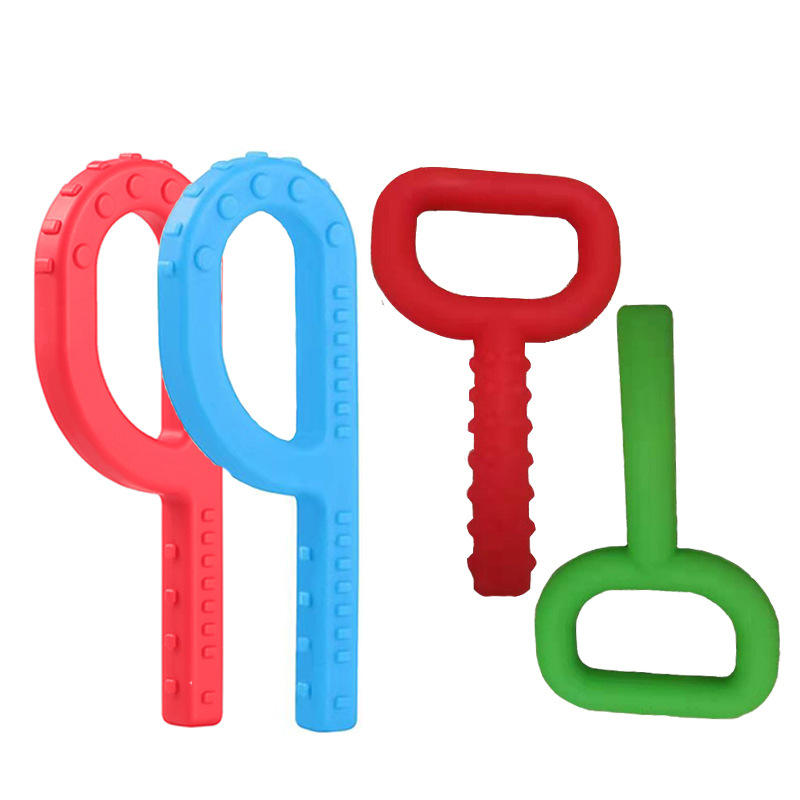 Baby Chewing Textured P T Chewy Tubes BRICKS Teething Silicone Sensory Chew Necklace for Children Autism Oral Motor Device