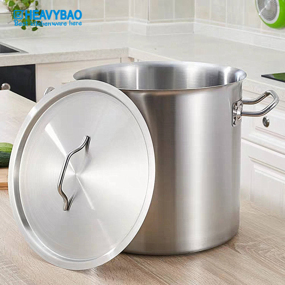 Heavybao Straight Shape 3-ply Bottom Stainless Steel Soup Pot Stock Pot for Induction Cooker