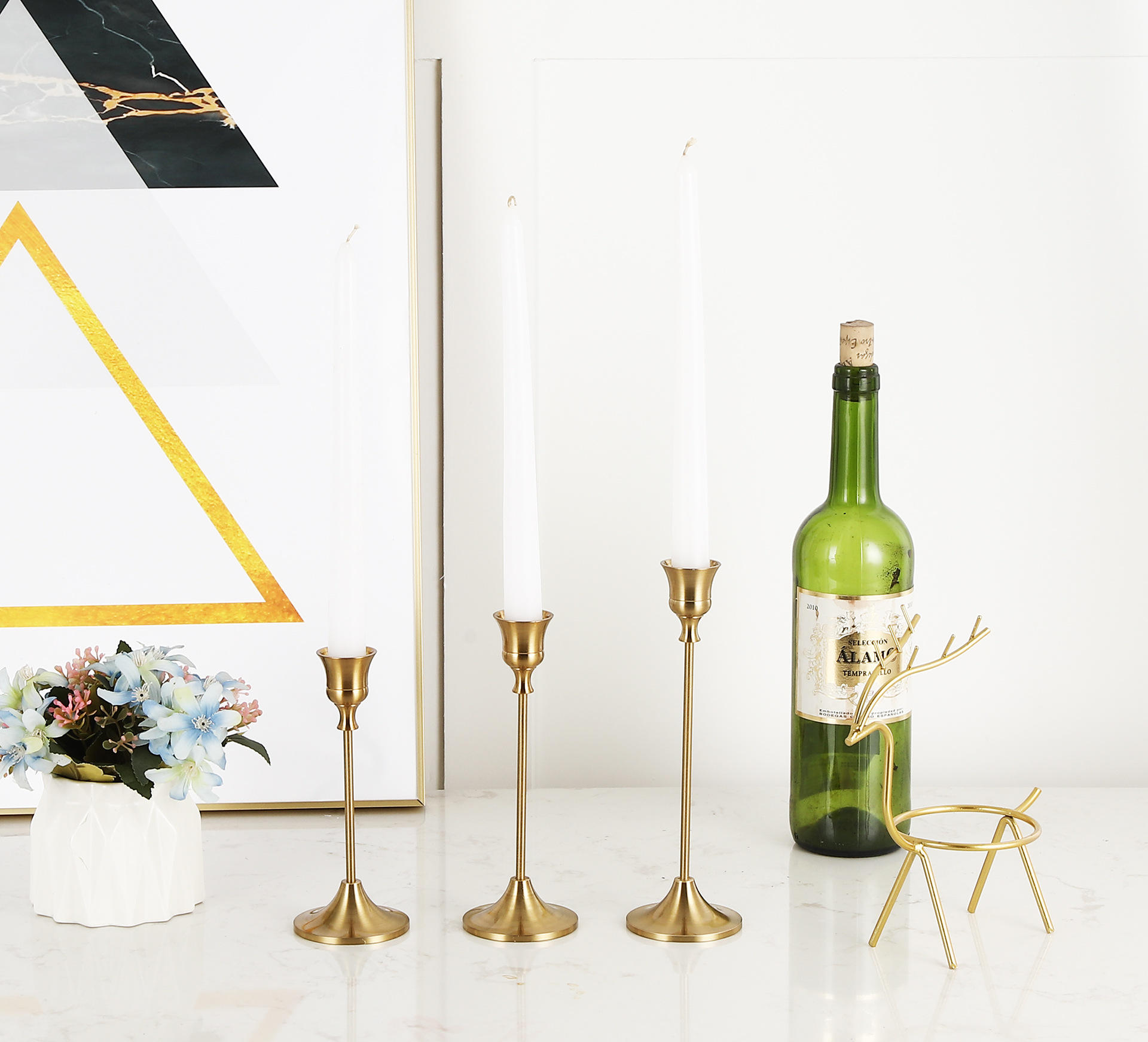 Table centerpiece brass candlesticks metal candle holders in bulk