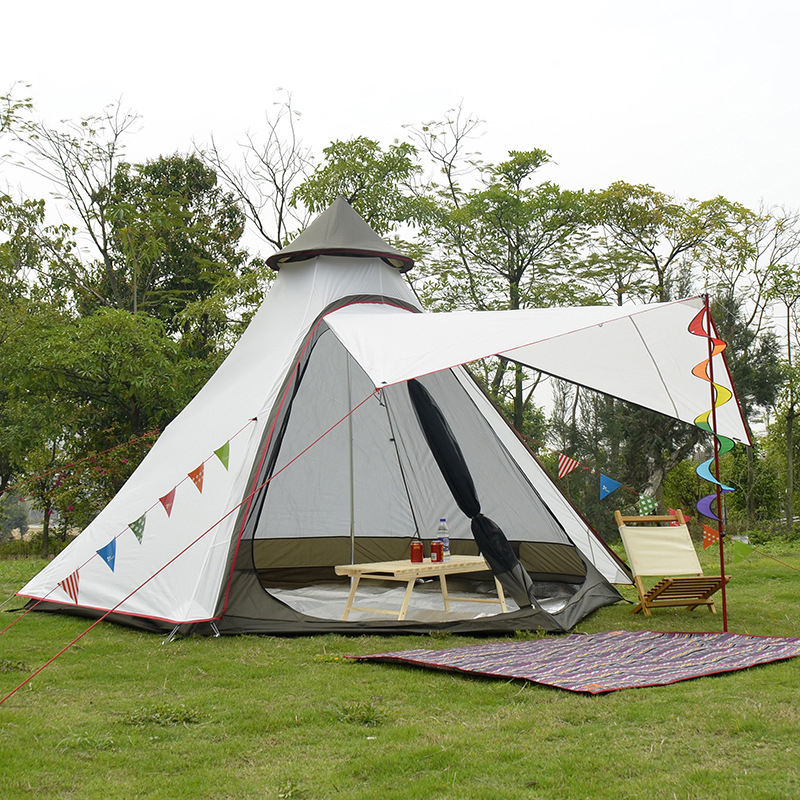 Indian Style Hexagon PinnacleTeepee Tent 4-6 People Outdoor Taffeta Double Layer UV Protection fireproof Camping Tent