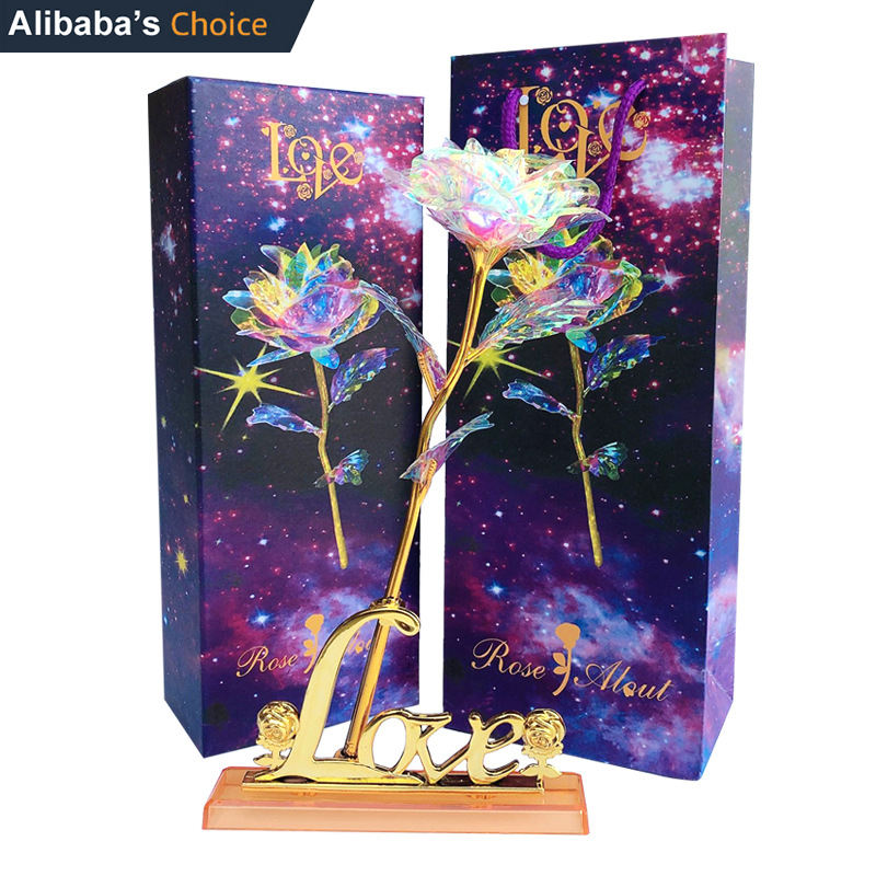 Rainbow Galaxy Rose Flower Artificial Crystal Rose Starry Sky 24 Gold plated Rose Gold Decorative Flowers Valentine' Day Gift