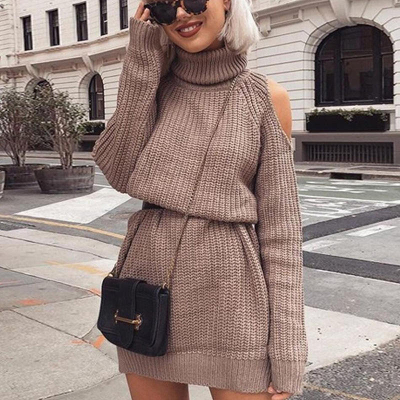 Women's Fall Winter Robecol Rolled Off Shoulder Long Sleeve Knitted Dress Slim Sweater Streetwear Sweaters