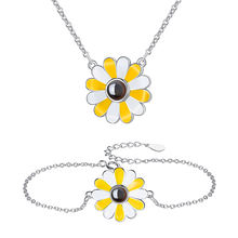 Fashion Jewelry Sets 100 Languages I LOVE U 925 sterling Silver Daisy Necklace Bracelet Jewelry Set with Enamel